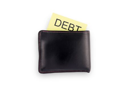 outgoings: Wallet with debt isolated on white