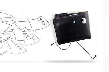 face illustration: Wallet running away from tax
