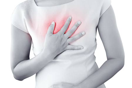 Girl with symptomatic acid reflux, isolate on white background