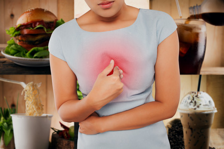acid reflux: Girl with symptomatic acid reflux