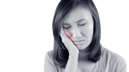 swollen: Have a toothache isolate on white background