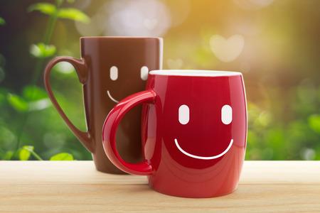 Double happy mugs in the garden