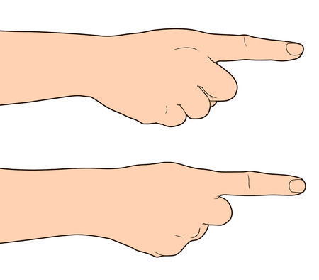 hand pointing: Hand finger pointing isolated on white background, Vector illustration