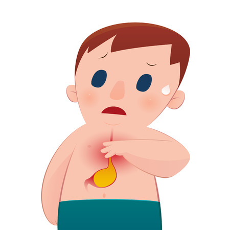 symptomatic: Man with symptomatic acid reflux. Illustration