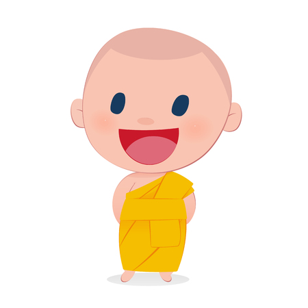 the abbot: A child monk smile, isolate on white background