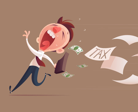 Evite los impuestos, Hombre de negocios que huye de impuestos para el concepto de impuestos Ilustración de vector