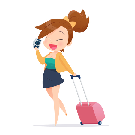 luggage travel: Woman tourist walking with suitcase on white background