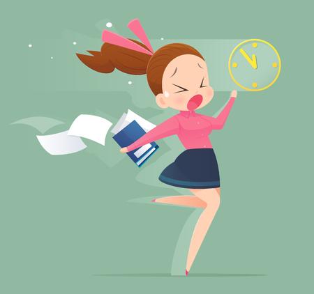 stress woman: Illustration of an office worker running to meet a deadline. Business woman concept illustration. Illustration