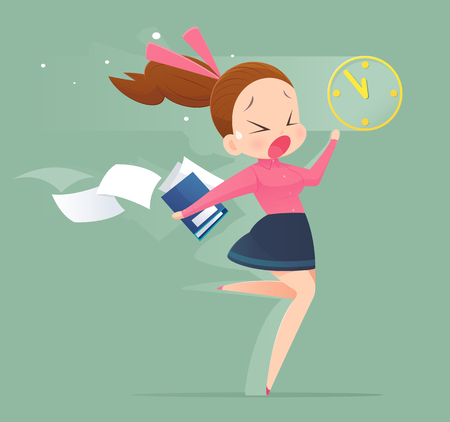 Illustration of an office worker running to meet a deadline. Business woman concept illustration. Illustration