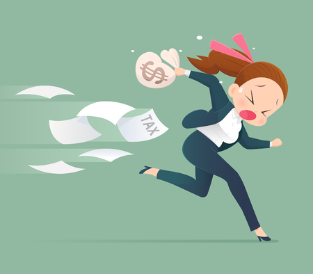Businessman running away from tax,  Business concept illustration. Illustration