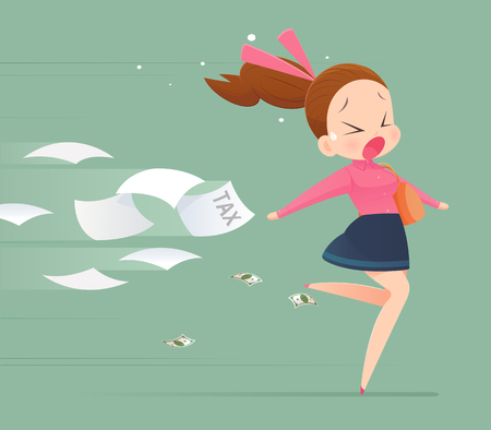 Business woman avoidance from tax, Business concept illustration.