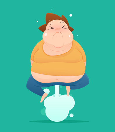 Man farting with blank balloon out from his bottom vector, Fat, Concept with Healthcare And Medicine.