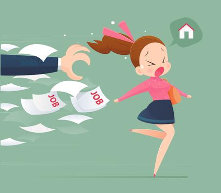 Woman avoidance from job Illustration