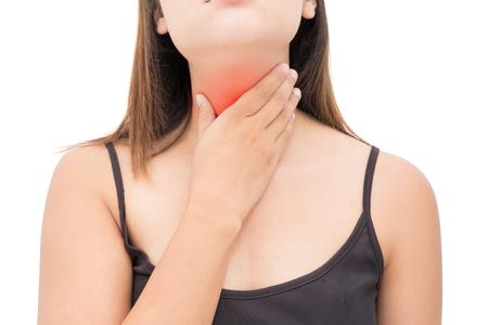 Dolor de garganta mujer sobre fondo blanco, dolor de cuello, Personas concepto de problema de cuerpo