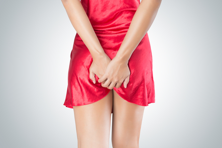 Woman has Farting Holding his bum isolated on White Background, Diarrhea, People digestive system problem concept