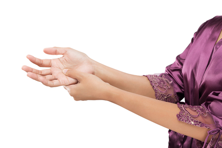 Woman holding her hand, Pain concept, De Quervains tenosynovitis, isolate on white background