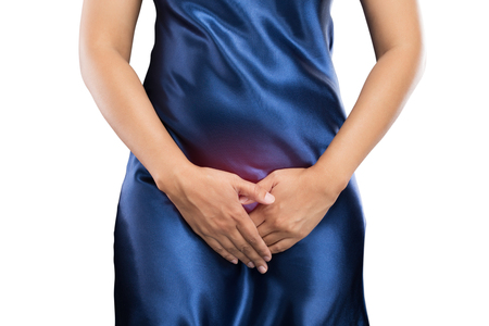 그녀의 조개를 들고 손을 가진 여자 낮은 복 부. 의료 또는 부인과 문제, 의료 개념 스톡 콘텐츠