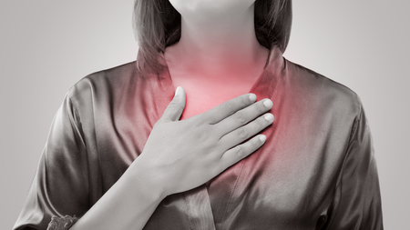 Woman suffering from acid reflux or heartburn. Gastroesophageal reflux disease