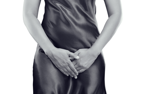 rupture: Woman with hands holding pressing her crotch lower abdomen. Medical or gynecological problems, healthcare concept
