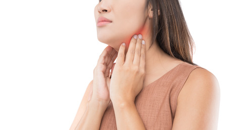 Sore throat of a women. isolated on white background.