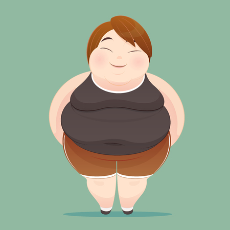 tight body: Character of an overweight woman dressed in sportswear on green background. illustration of a fat people figure, Concept with Cartoon and Vector