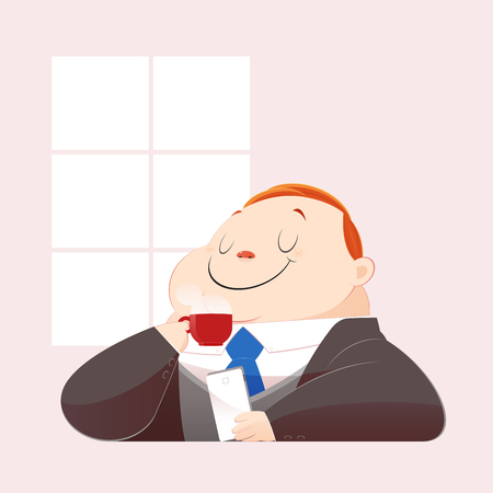 A happy fat business man in black suit is drinking hot coffee and surfing internet on his mobile. Concept with Cartoon and Vector.