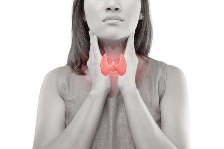 Control de la glándula tiroides de las mujeres. Dolor de garganta de un pueblo aislado en fondo blanco.