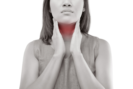 Women thyroid gland control. Sore throat of a people isolated on white background. Archivio Fotografico