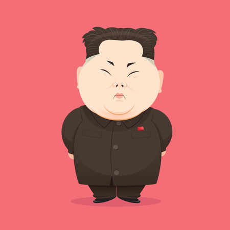 August 08, 2017: Kim Jong-un, North Korean supreme commander, illustration and cartoon