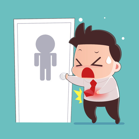 Businessman Walking Into a Public Bathroom, Man Cartoon With Diarrhea Problem Concept, Idea Concept With Icon Design, Vector Illustration 10 EPS.