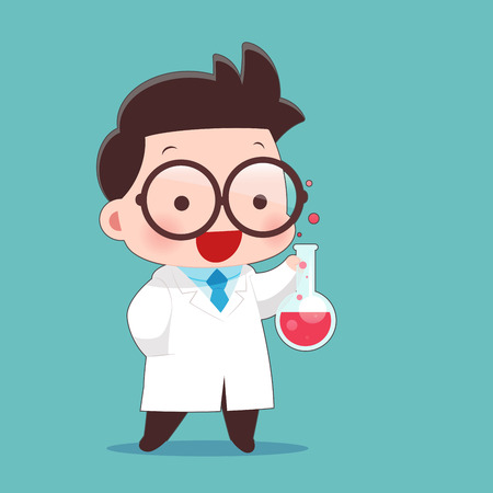 Cartoon Scientist With Test Tube And Science Experiments, Idea Concept With Character Design.