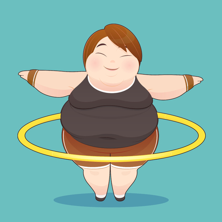 hula hoop: Fat woman with hoola hoop twirling, Idea Concept With Icon Design, Illustration Illustration
