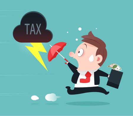 Businessman Running Away From Tax, Tax Avoidance, Cartoon Design-Vector And Illustration Çizim