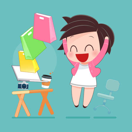 Woman Shopping Online, Idea Concept With Cartoon Design, Vector Illustration EPS10 Illustration