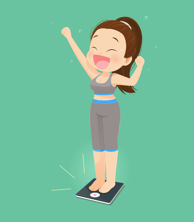 Women Success Losing Weight, Concept With Cartoon Design, Vector Illustration