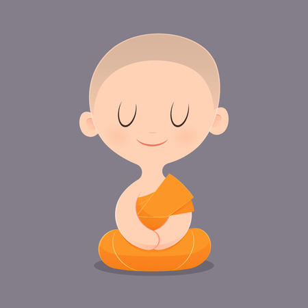 Cartoon Buddhist Monk Of Southeast Asia. Meditation. Vector illustration.