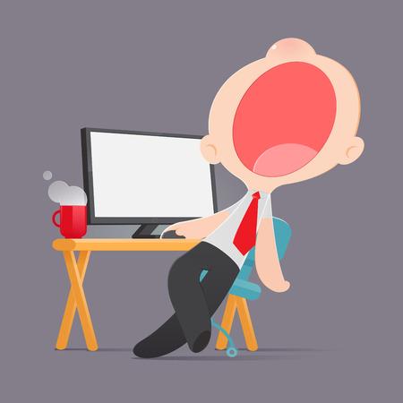 Lazy man disinterested in boring routine, Bored yawn businessman sitting half asleep at workplace, Cartoon, Vector illustration