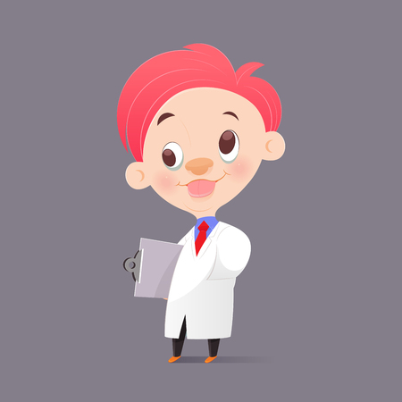 funy: The Cartoon Professor Doctor In White Gown Have Crazy, Funny Face, Vector Illustration Illustration