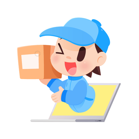 Delivery Man Brings A Goods To A Customer From Laptop, Vector illustration, Concept with Online Shopping And Services. Illustration
