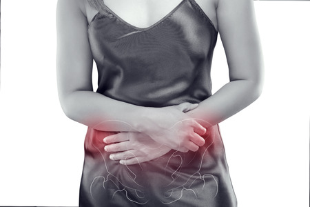 The photo of pelvic is on the woman's body, isolate on white background, Female anatomy concept