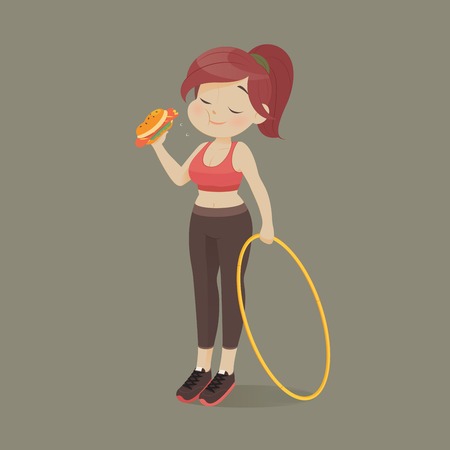 Young woman eating a piece of fast food, women refuse to exercise, Vector illustration. Illustration