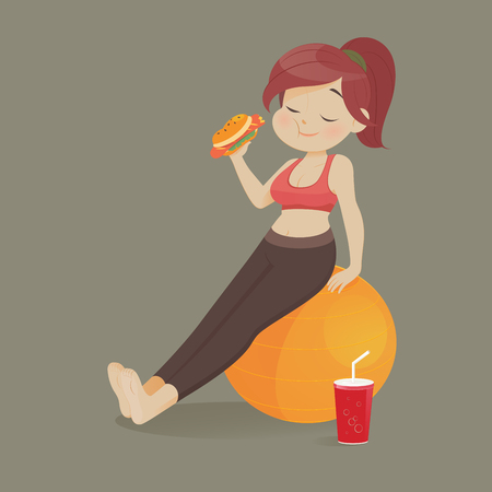 Young woman eating a piece of fast food, Women refuse to exercise, Vector illustration.