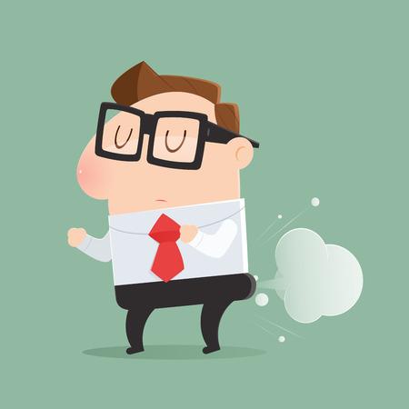 El hombre se está tirando pedos en forma de globo, Vector de dibujos animados, Ilustración. Ilustración de vector