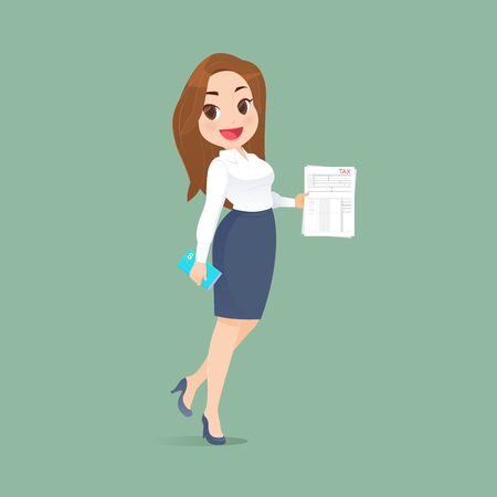 Illustration of beautiful woman carries tax documents on Green background. Time for taxes planning money financial accounting, Vector cartoon