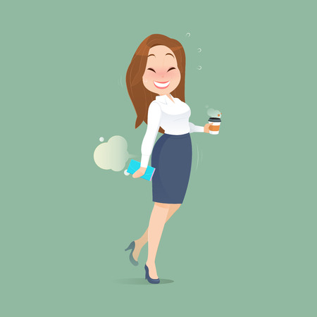 The office woman who is holding a cup of coffee is shy when she farted. Funny cartoon illustration, Concept with Healthcare And Medicine.
