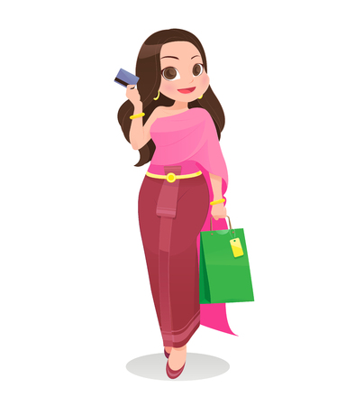 Thailand woman shopping with credit card against white Background, Cartoon, Vector illustration