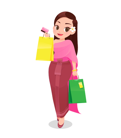 Thailand woman shopping with credit card against white Background, Cartoon, Vector illustration Illustration
