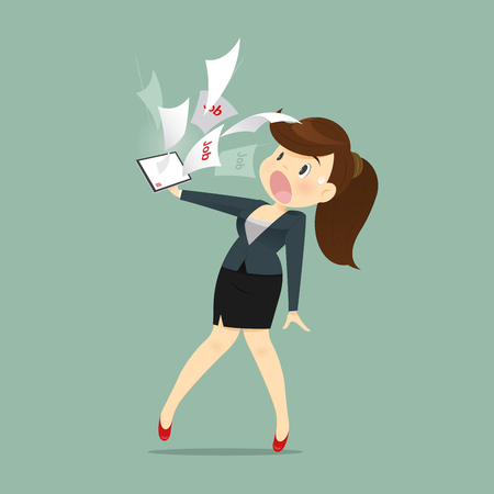Cartoon Business Woman Shocked And Tired With Email Work A Receive From Manager, Vector illustration