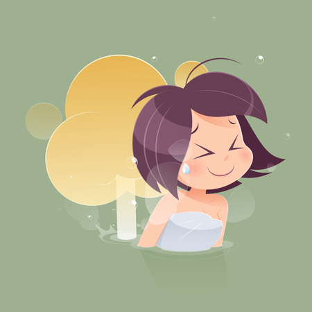 Cute woman farting with blank balloon out from her bottom against green background, Vector, Funny face cartoon, Illustration Illustration