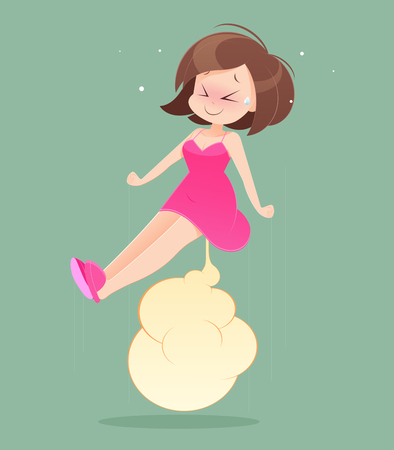 Female wearing skirt, farting, cartoon illustration.